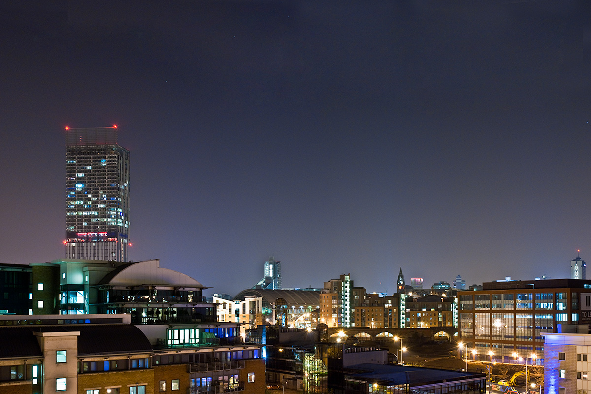 Manchester city centre, as viewed from city centre south