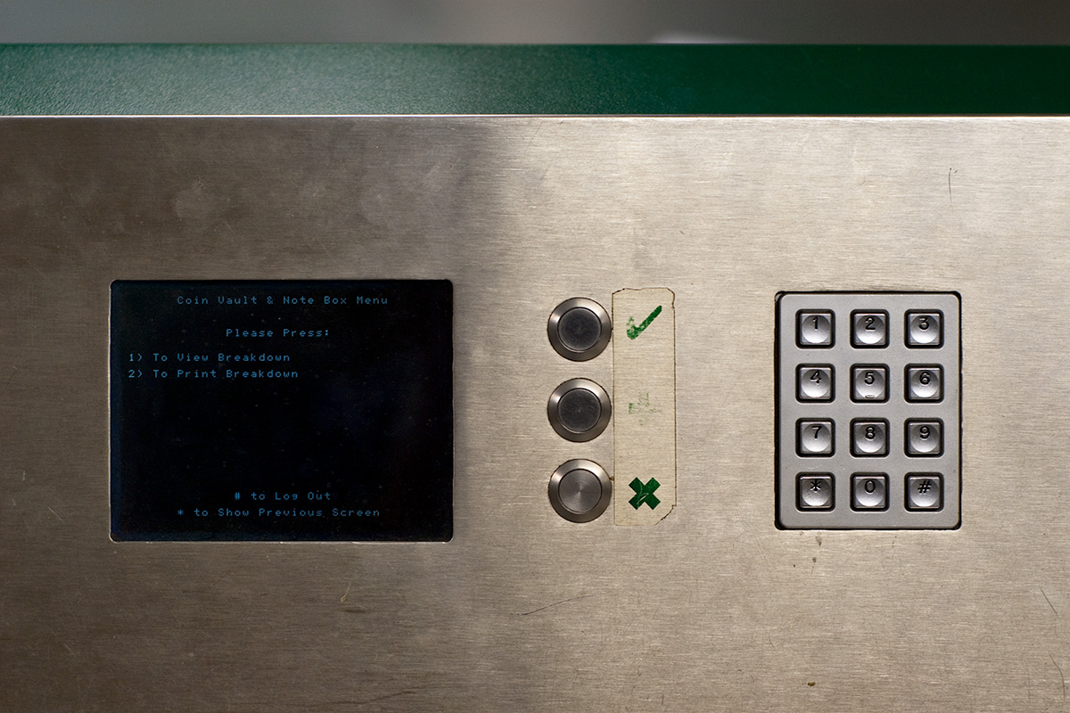 A machine for cashing takings at the end of each route