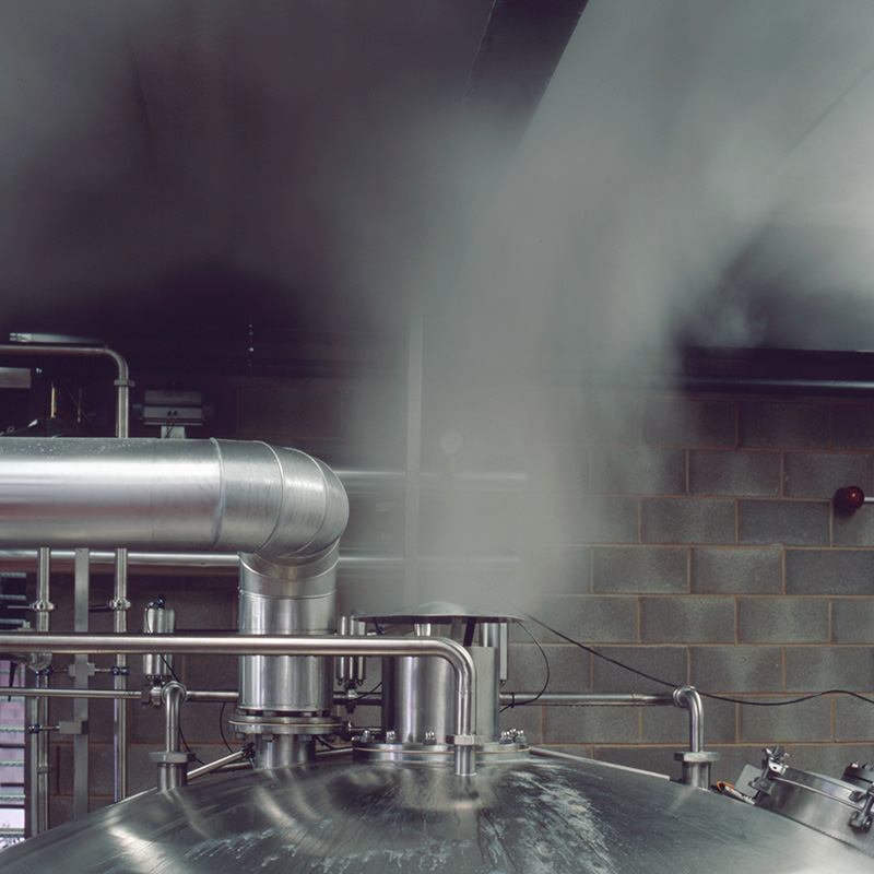 Steam released from a copper