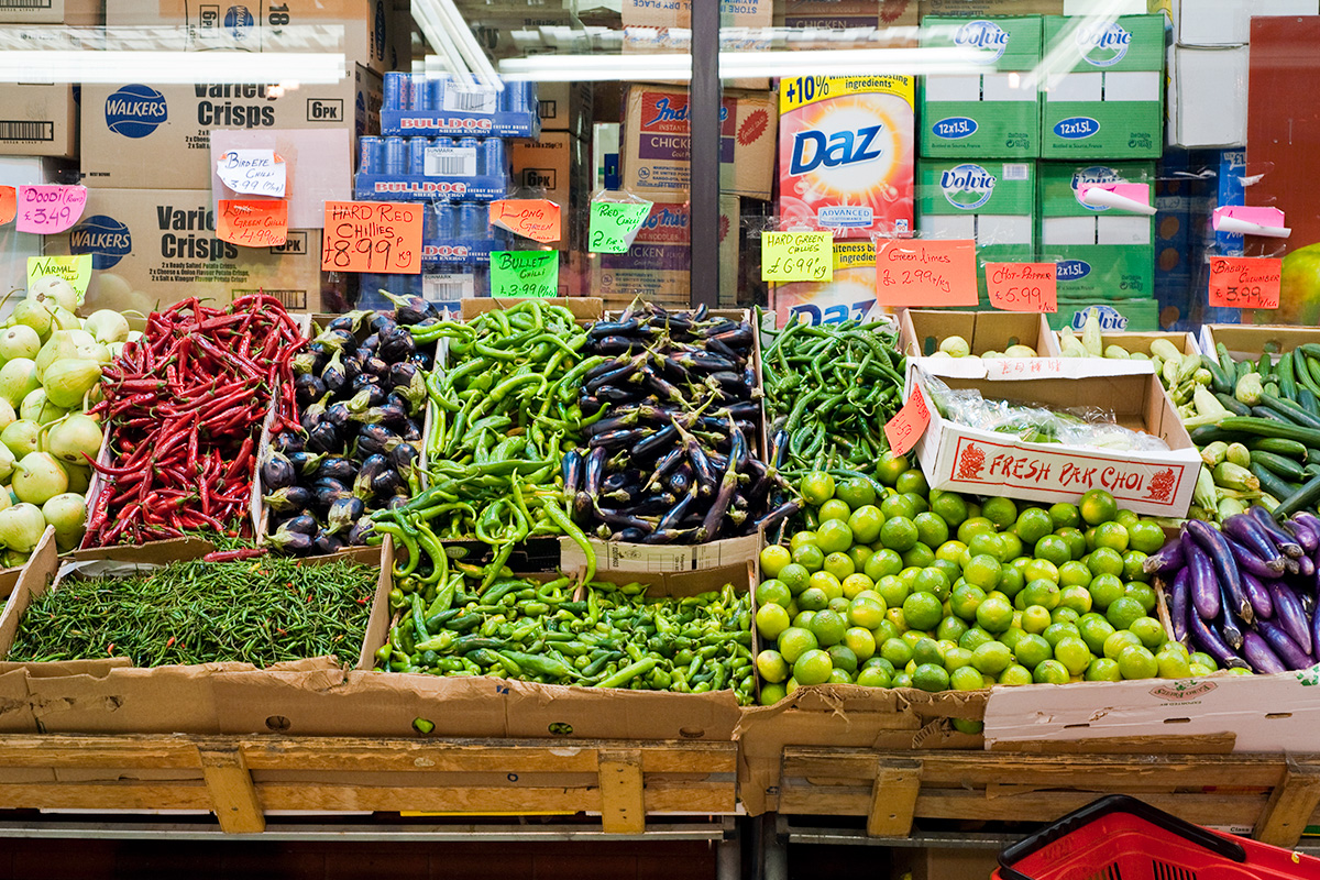 Vegetables for sale at Worldwide Stores, Rusholme