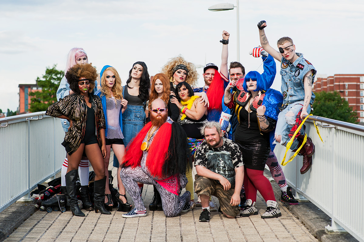 The cast and crew of a Tranarchy promotional video