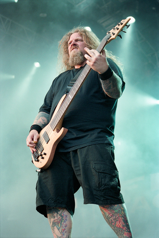 Byron Stroud of Fear Factory performing at Bloodstock Open Air Festival 2010