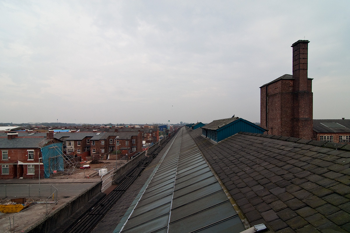 The view from the clocktower of Princess Road Bus Depot, looking across Moss Side