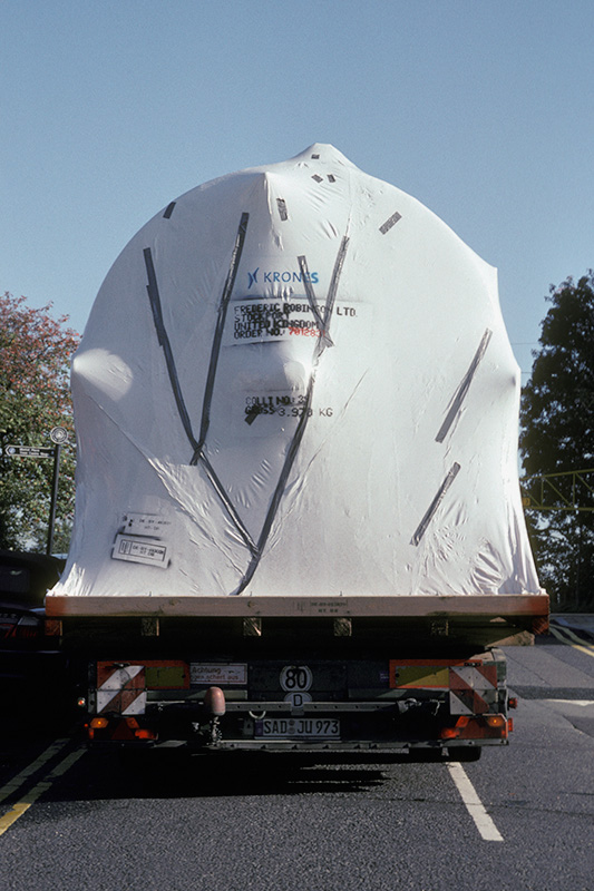 A new cold liquor tank being delivered from Krones, Germany to Robinson's Unicorn Brewery, Stockport