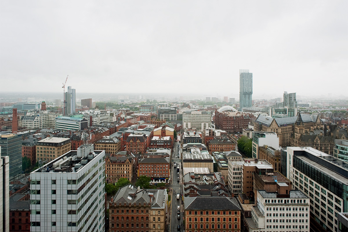 The southern section of Manchester city centre, viewed from the 24th floor of City Tower during heavy rain