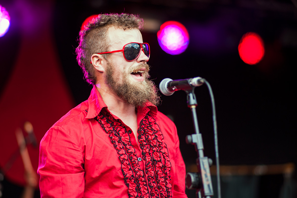 Disco Panther performing on the Orchard stage at Nozstock 2014