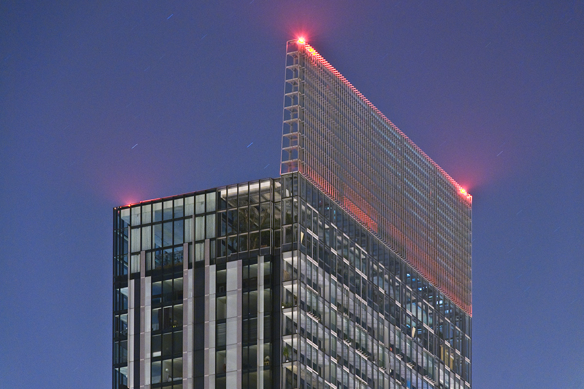 The top of Beetham Tower, Manchester at night