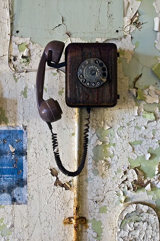 A Dictomatic telephone on the wall of the occupational therapy block of West Park asylum, Epsom