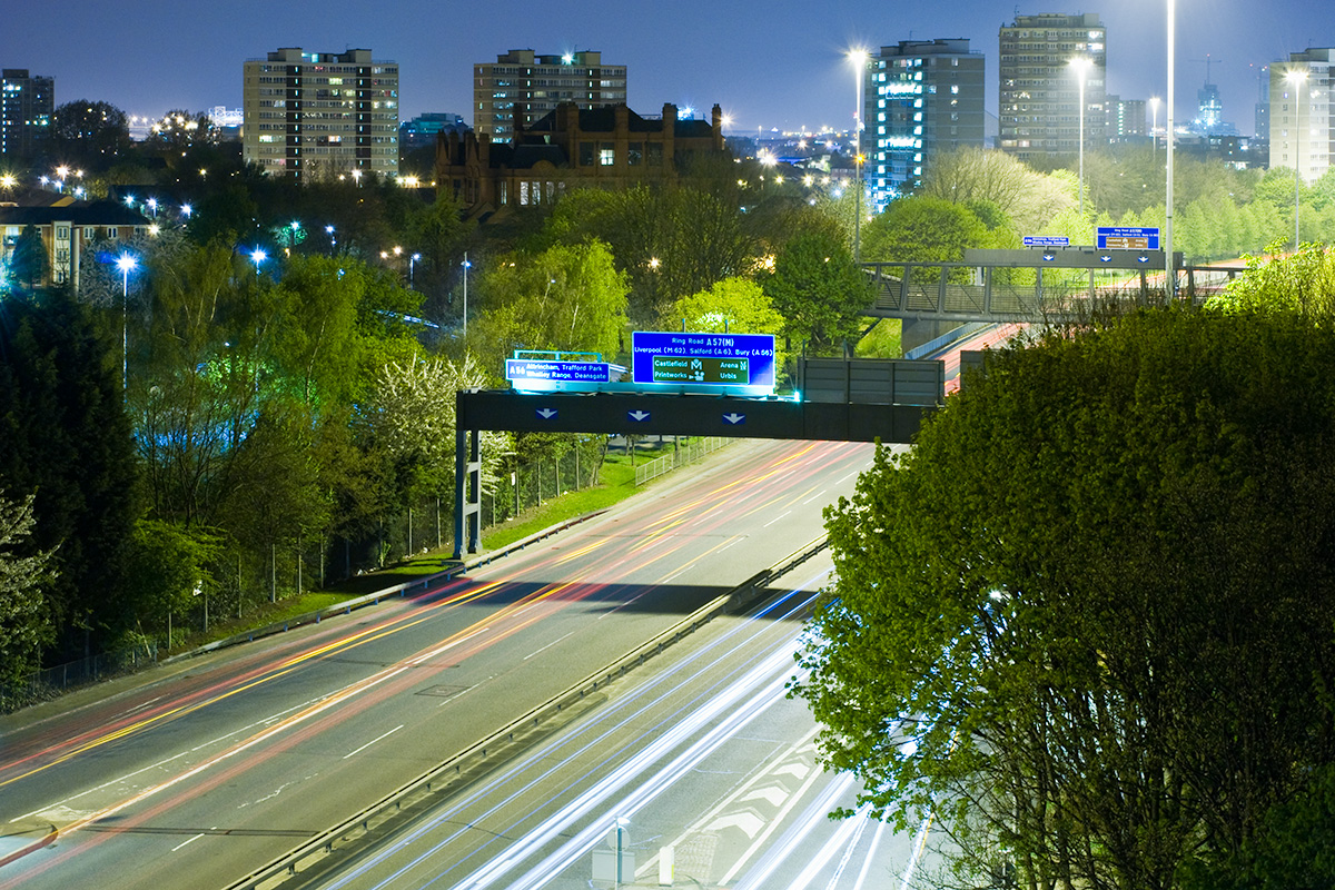 The Mancunian Way passing through Hulme, with Hulme and St George's beyond