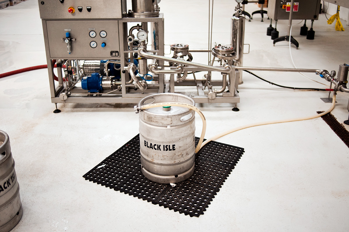 A keg ready to be filled at Black Isle Brewery