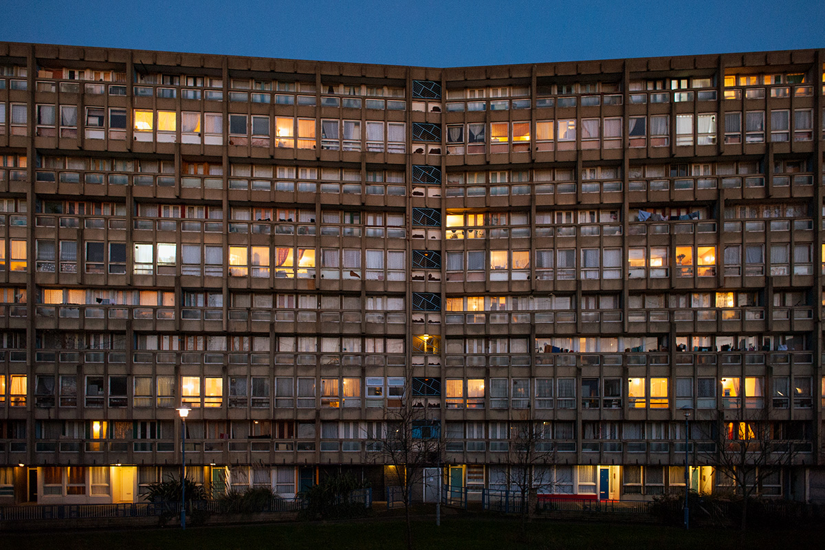 Robin Hood Gardens, Tower Hamlets at dusk