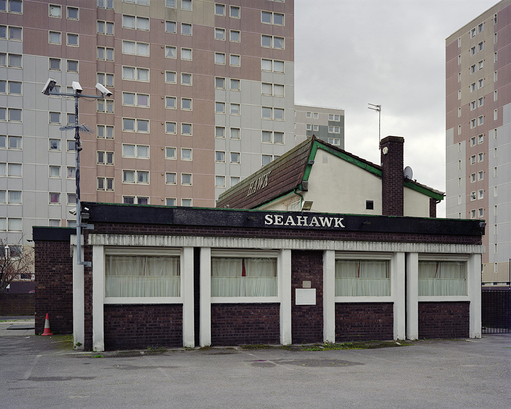 A large format photograph of the Seahawk, Old Trafford. This photograph is part of a series on isolated inns.