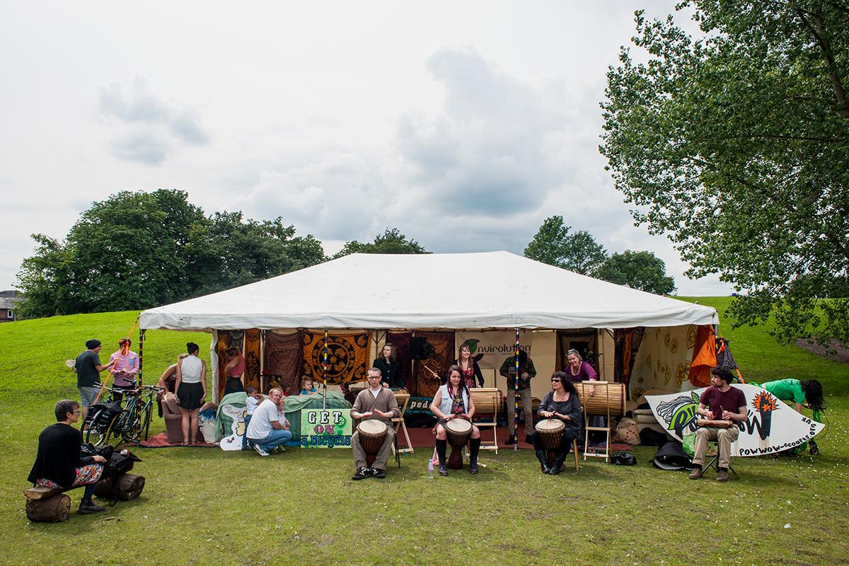 The Wangari drum troupe performing at Envirolution 2012