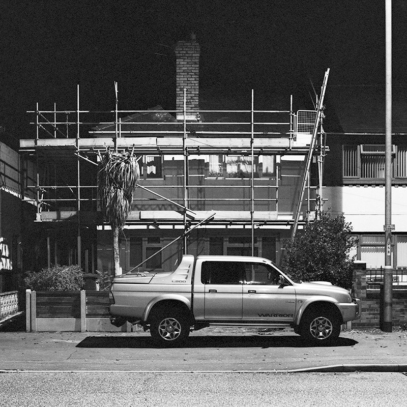 A scaffolded house in Withington, Manchester
