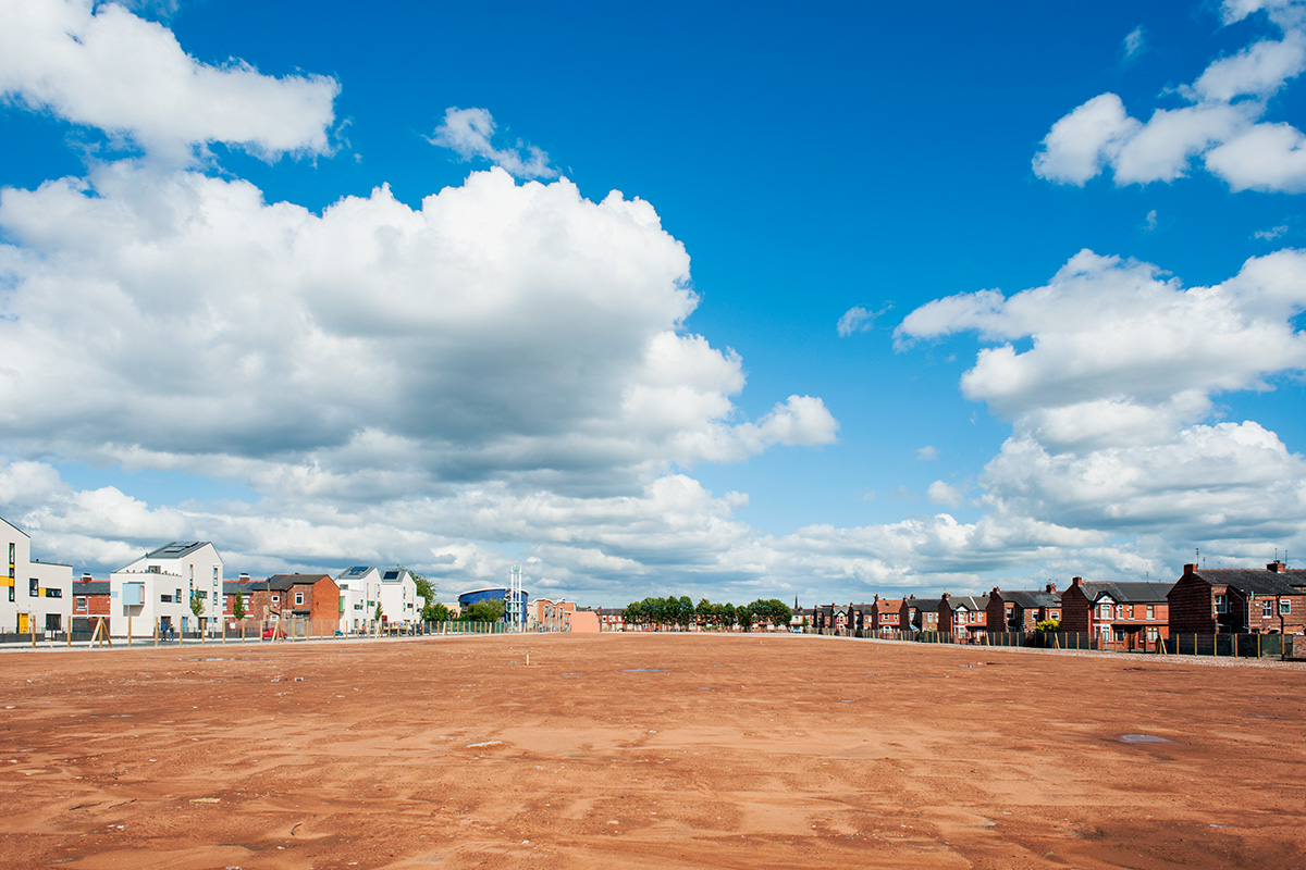 The site of the former Princess Road Bus Depot, Moss Side