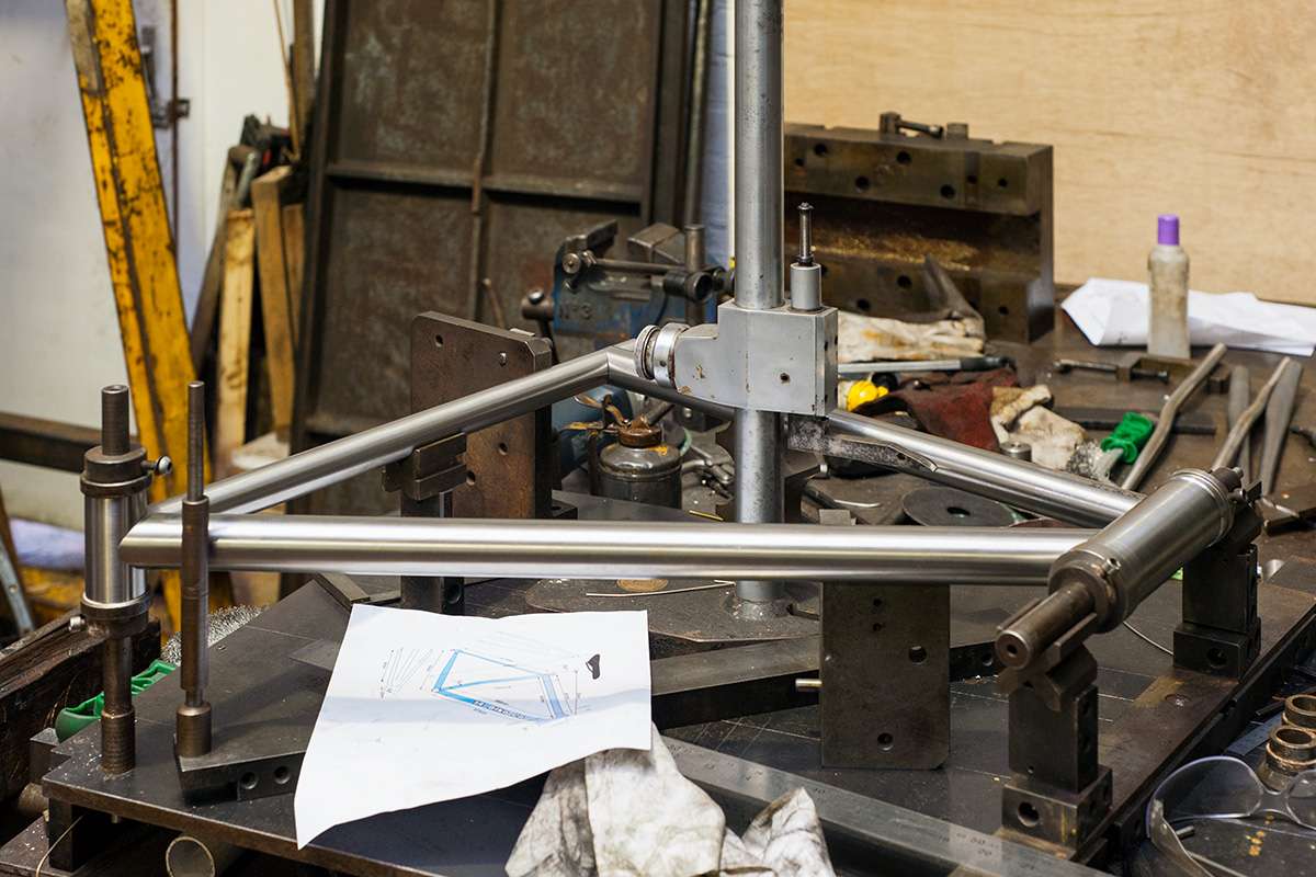 Cut tubes placed in a jig ready to braze or weld, Ted James Design, Stroud