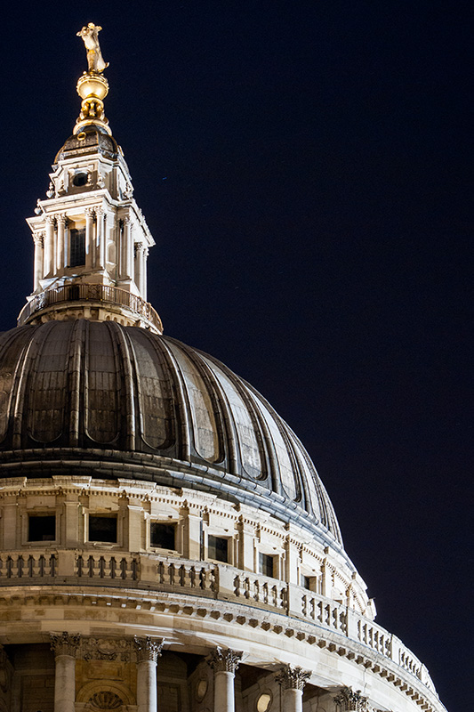 The dome of St Paul's Cathedral, London at night