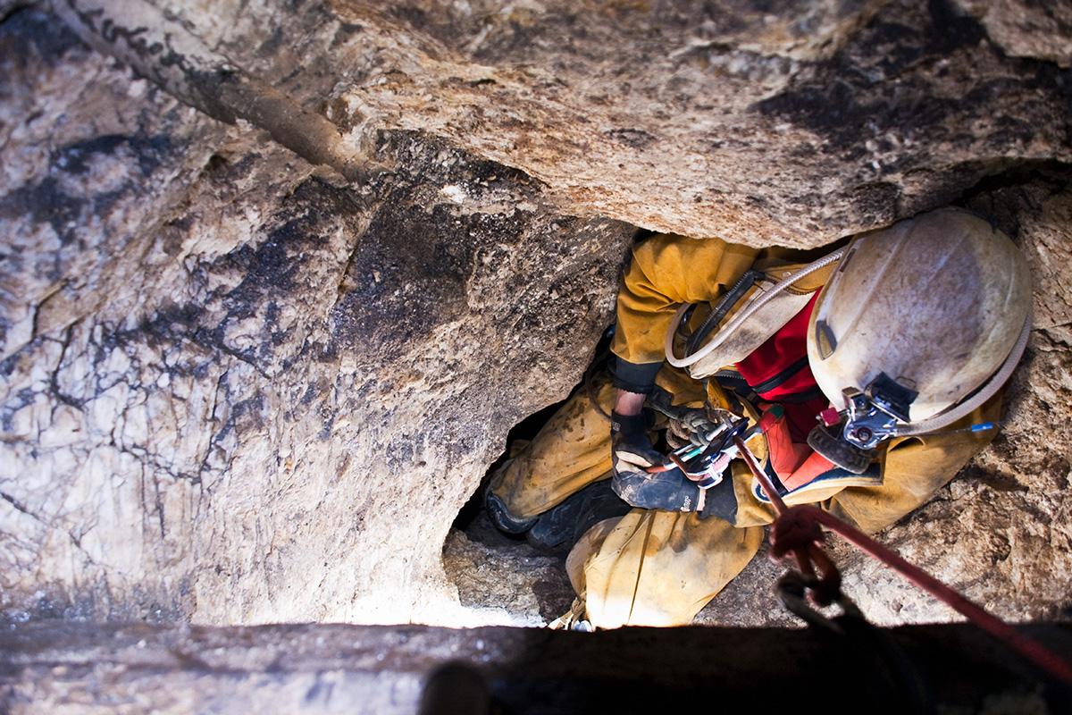Descending to a lower level in Long Rake spar mine