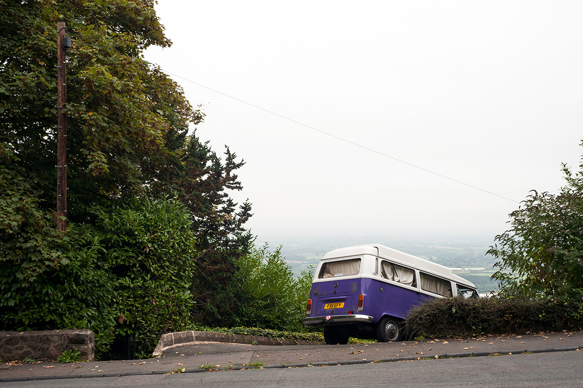 VW Camper on a steep driveway in Malvern Wells