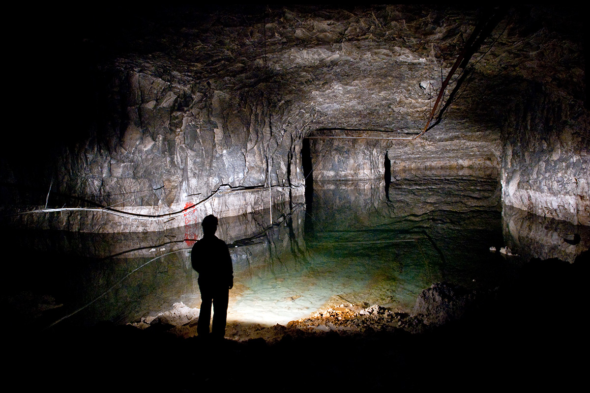 The flooded bottom level of Middleton Mine