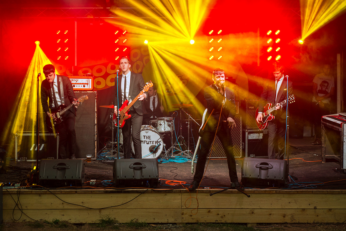 The Computers performing on the Bandstand stage at Nozstock 2015