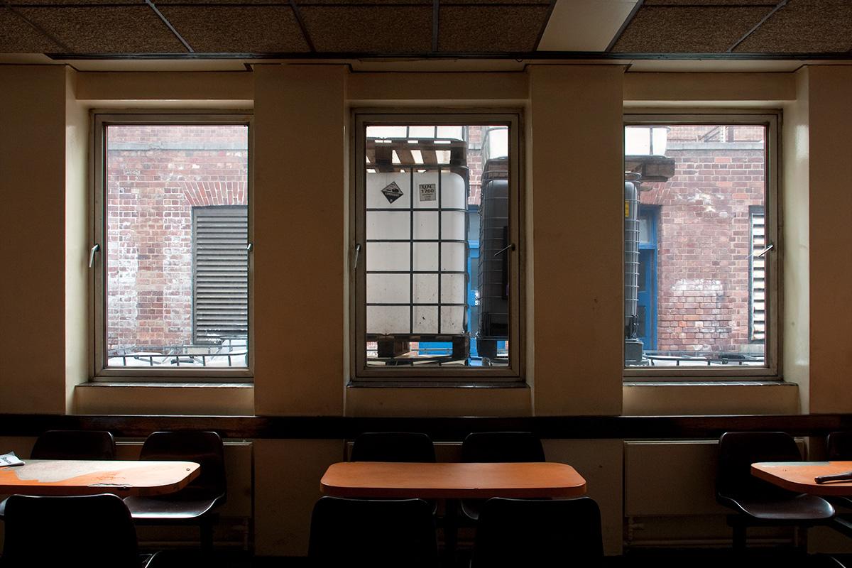 The break room/dining area