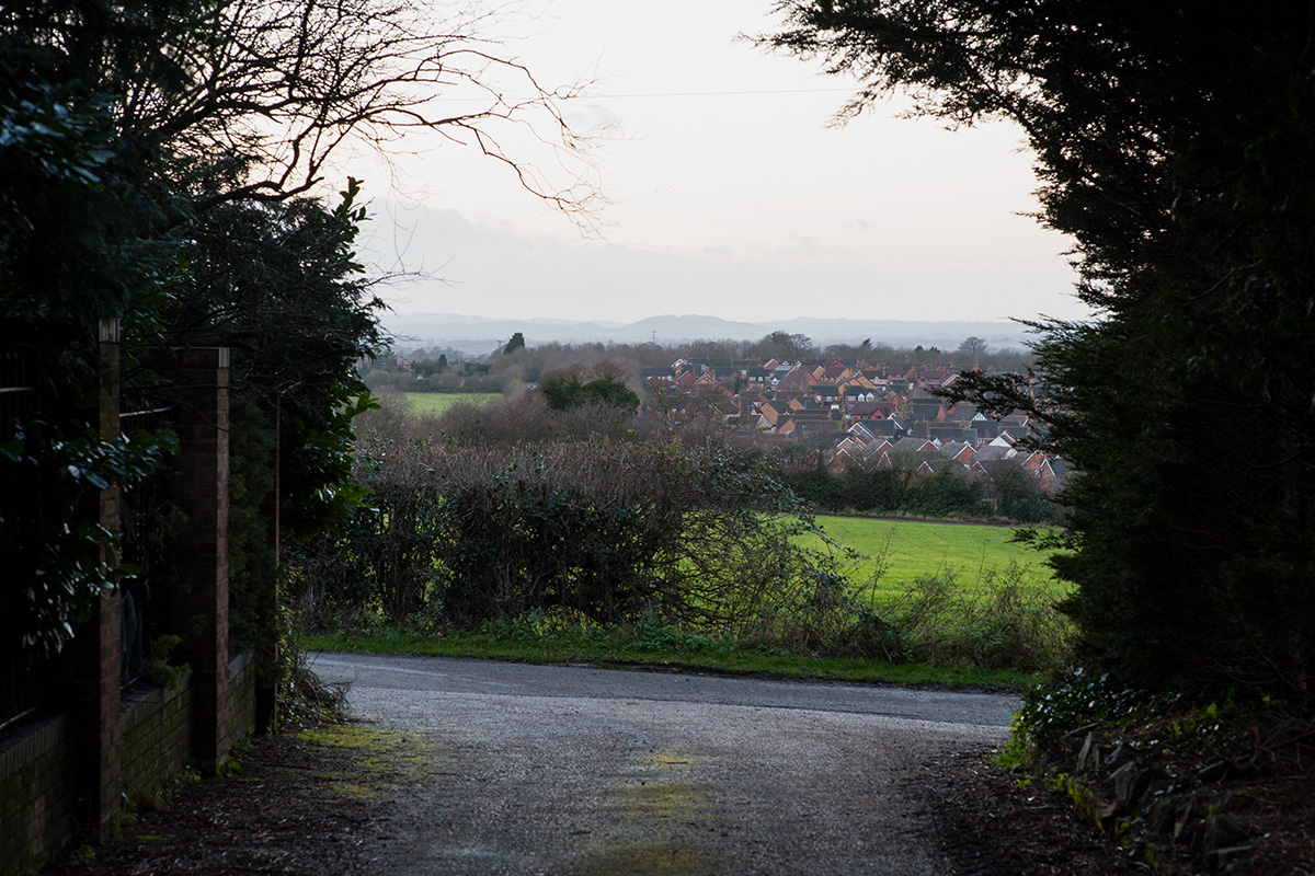 The view from Yew Tree Hill, Droitwich, looking towards the Malvern Hills