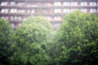 The Barbican Estate, London during heavy rain