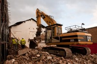 The demolition of Moorhouse's old brewery