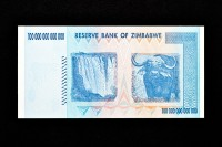 A Zimbabwean banknote of value one hundred trillion dollars