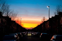 The sunset, as viewed down Thornton Road, Fallowfield