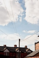 A telegraph pole in great light, in Rusholme, Manchester