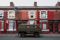 A Pinzgauer 710K Swiss army truck parked in a residential street in Rusholme, Manchester
