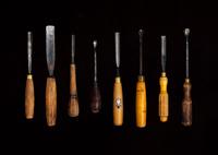 A cabinet maker's gouging chisels