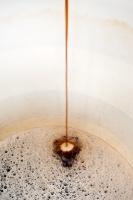 Wort entering a fermenting vessel, Quantum Brewery